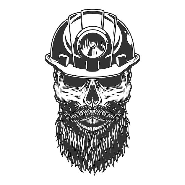Череп в шахтерском шлеме Бесплатные векторы