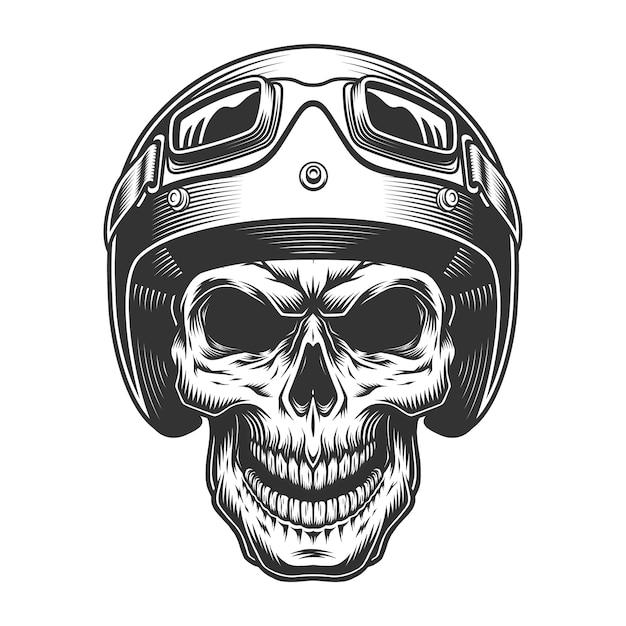 Череп в мото шлеме Бесплатные векторы