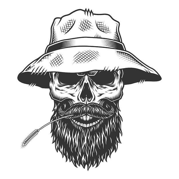 파나마 모자에 두개골 무료 벡터