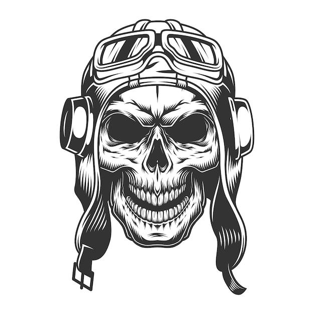 Череп в шлеме пилота Бесплатные векторы