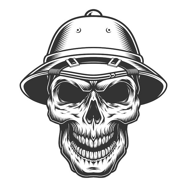 사파리 모자에 두개골 무료 벡터