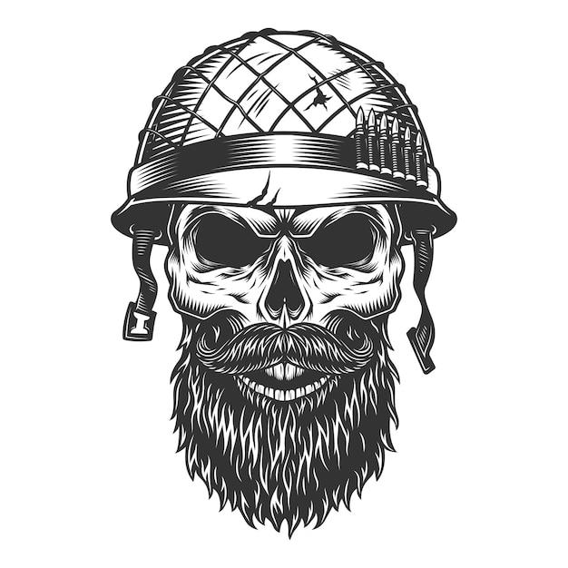 군인 헬멧에 두개골 무료 벡터