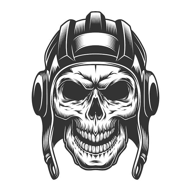 タンクヘルメットの頭蓋骨 無料ベクター