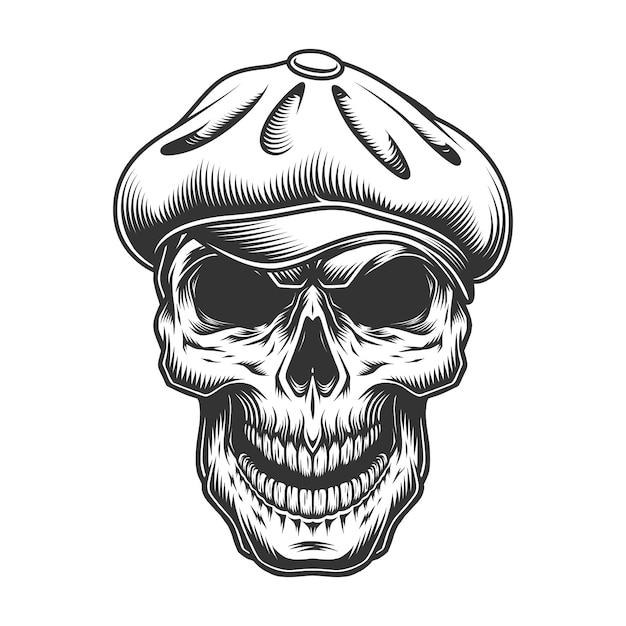 트위드 모자에 두개골 무료 벡터