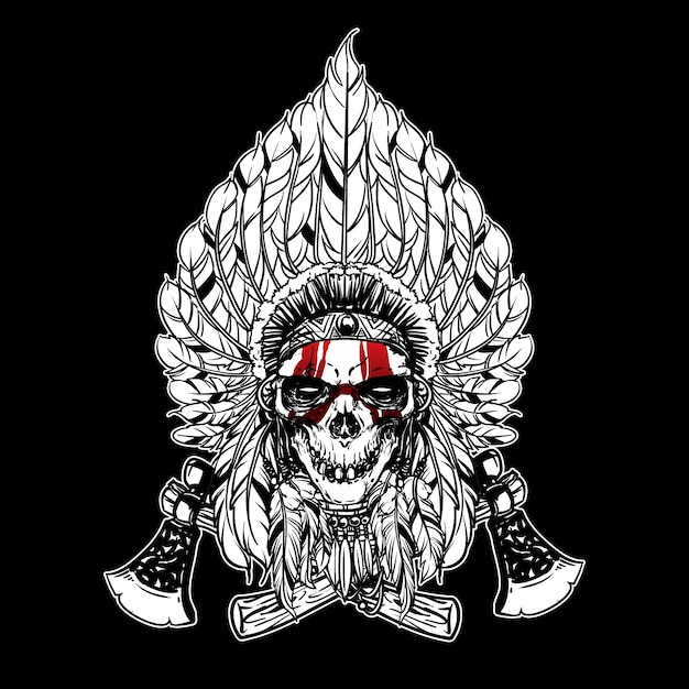 skull indian chief and axe logo in hand drawing style