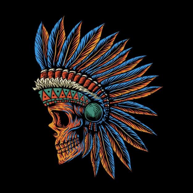 Skull indian side position illustration Premium Vector