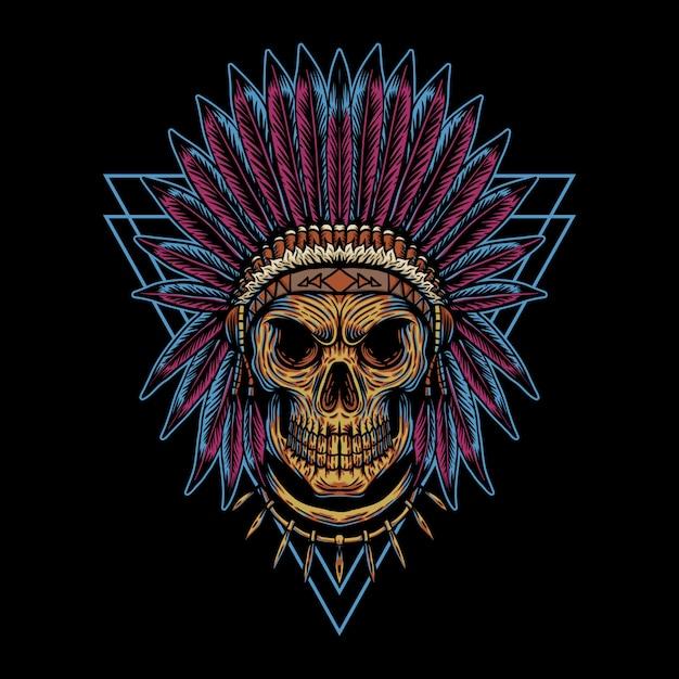 Skull indian triangle badge illustration Premium Vector