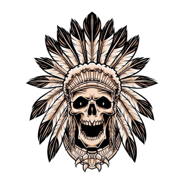 Copricapo da portare indiano del cranio isolato su bianco Vettore gratuito
