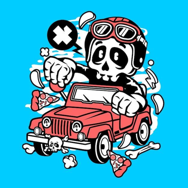 Skull jeep cartoon Premium Vector