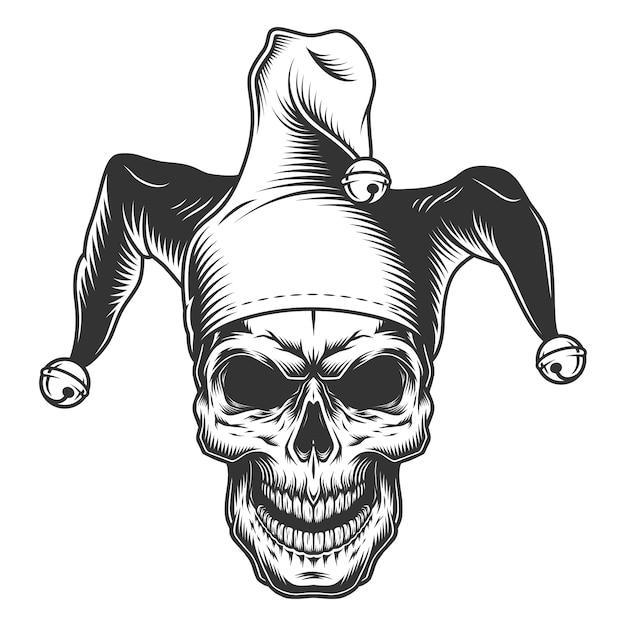 Skull in jester hat Free Vector