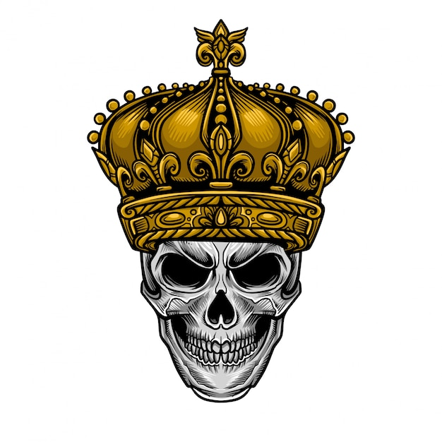 Skull king crown vector Premium Vector