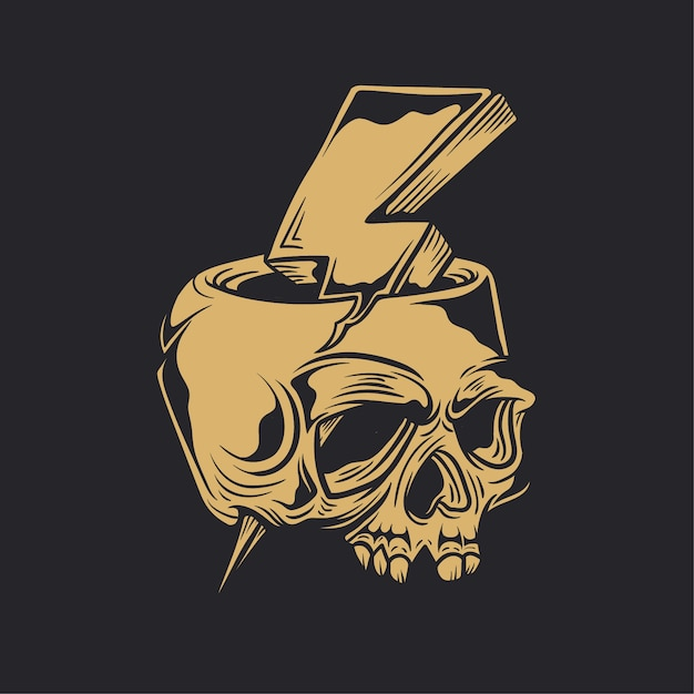 Skull Lighting Bolt Thunder Flash Premium Vector