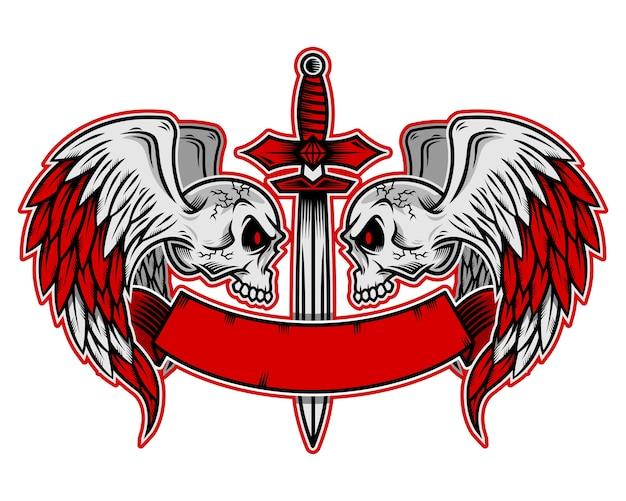 날개를 가진 두개골 로고, 아이콘 또는 두개골 그림 프리미엄 벡터