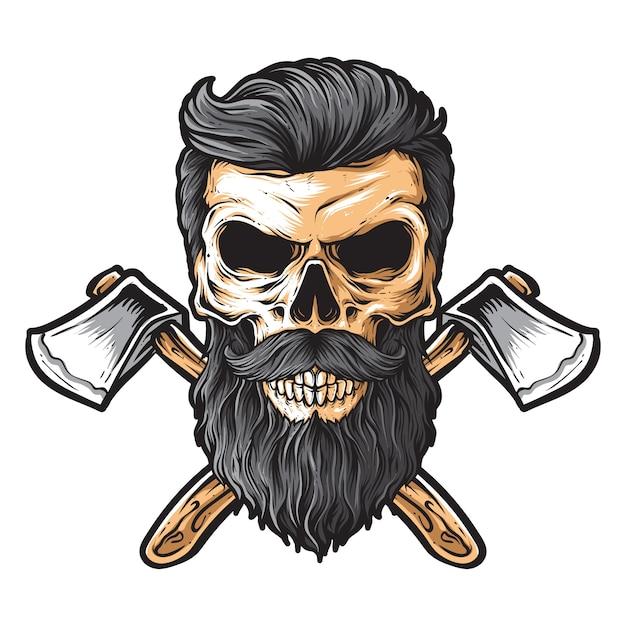 Skull lumberjack vector Premium Vector