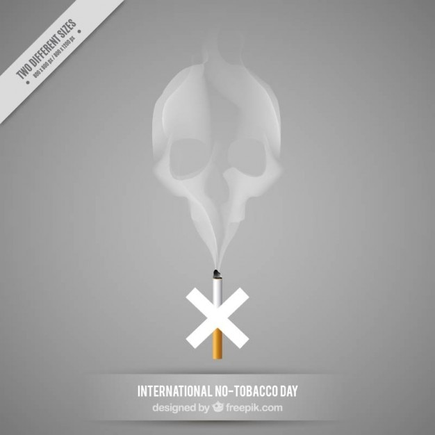 Skull made up of smoke background Free Vector