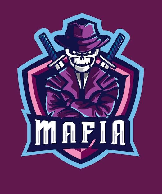Skull mafia e sports logo Premium Vector