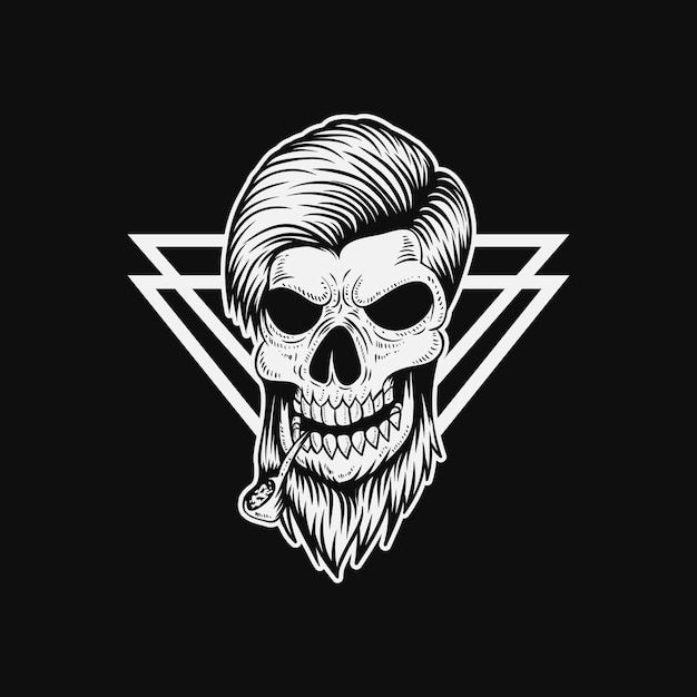 Skull man smoke vector illustration Premium Vector