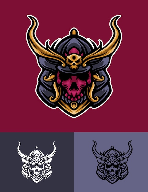 Skull mask samurai logo illustration Premium Vector