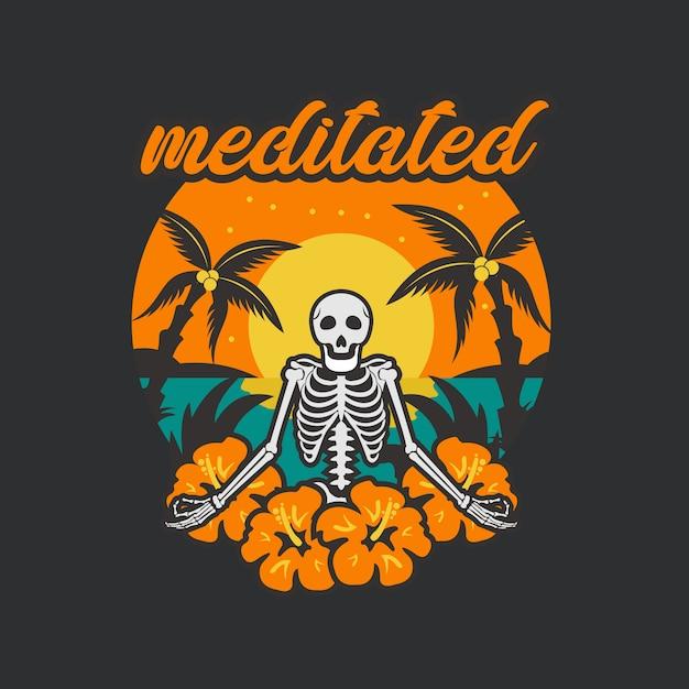 Skull meditated illustration Premium Vector