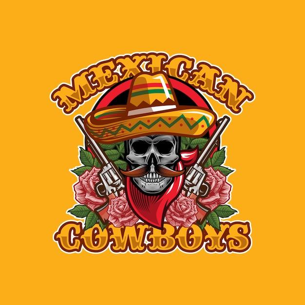 Skull mexican cowboys logo design concept Premium Vector