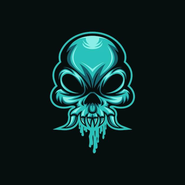 Skull monster mucus head  vector illustration Premium Vector