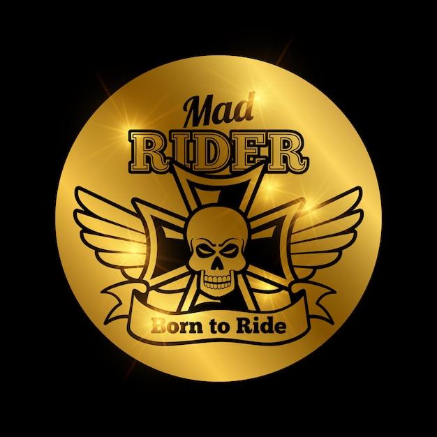 Skull motorbike rider emblem Premium Vector