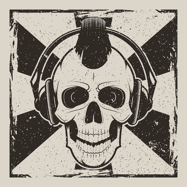 Skull music punk vintage grunge Premium Vector