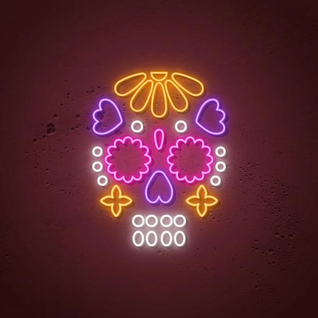 スカルネオンサイン。死者の日のための輝くネオンデザイン。 Premiumベクター