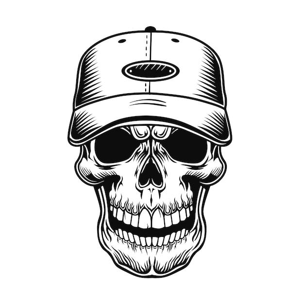 야구 선수 벡터 일러스트 레이 션의 해골입니다. 모자의 캐릭터 머리 무료 벡터