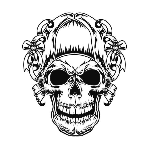女性の頭蓋骨のベクトル図です。リボンと弓でレトロな髪型の頭の女性キャラクター 無料ベクター