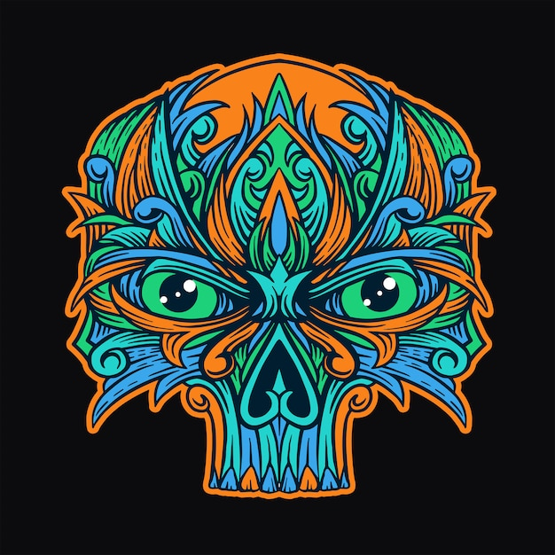 Skull ornament t-shirt design Premium Vector