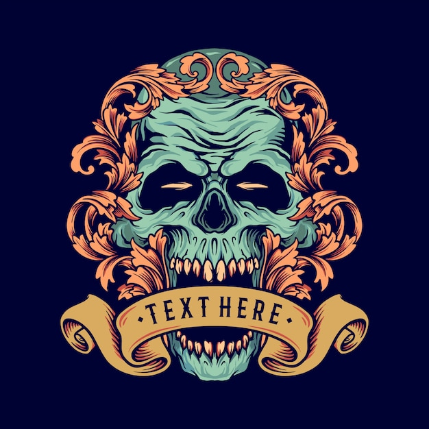 Skull ornament with banner illustrations for merchandise and poster Premium Vector