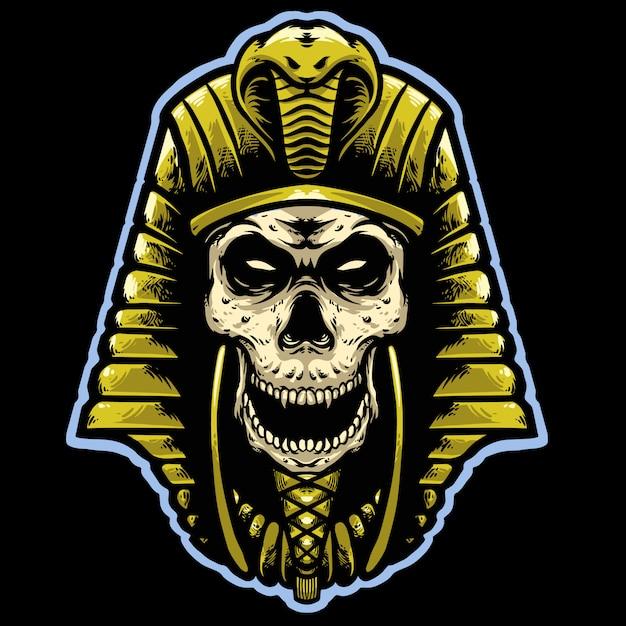 Skull pharaoh with gold helmet head mascot design logo design Premium Vector