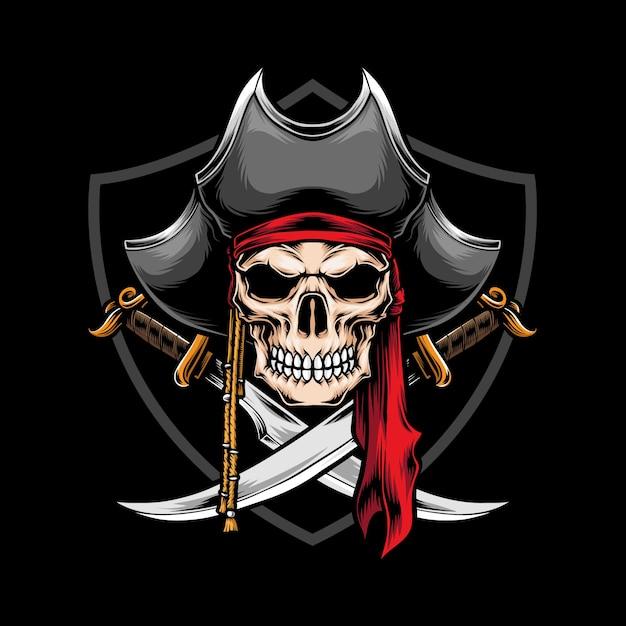 Skull pirate with crossed sword illustration Premium Vector