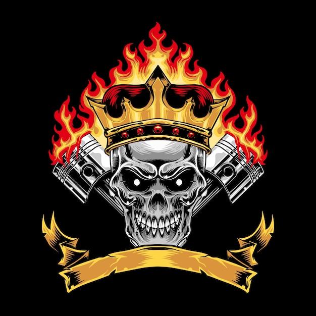 skull piston and crown for racing stuff art print design vector