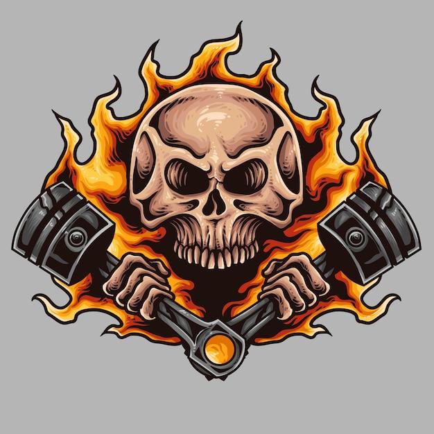 Skull and piston motorcycle tattoo Premium Vector