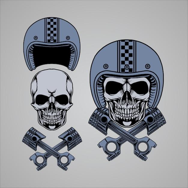 Skull piston Premium Vector