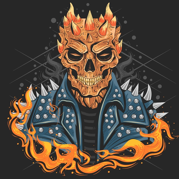 Skull punk head with jacket and fire Premium Vector
