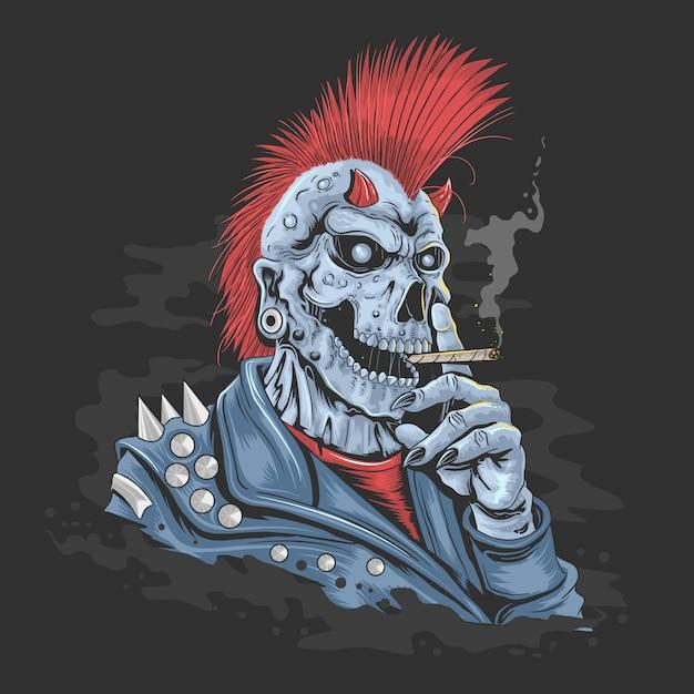 Skull punk mohawk hair Premium Vector