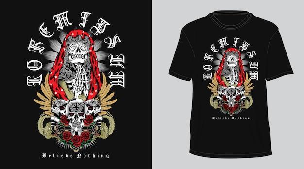 Skull religion  t-shirt Premium Vector