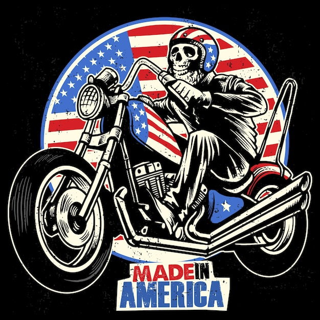 Skull ride an american flag painted mototrcycle Premium Vector