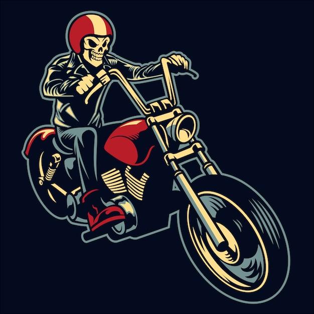 Skull ride a big motorcycle Premium Vector
