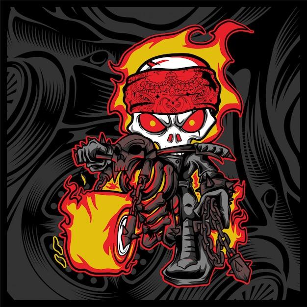 Skull rider ride a motor cycle Premium Vector