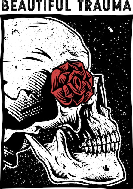 Skull and rose vector Premium Vector