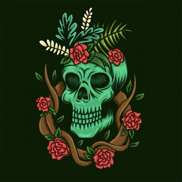 Skull and roses vector illustration Premium Vector