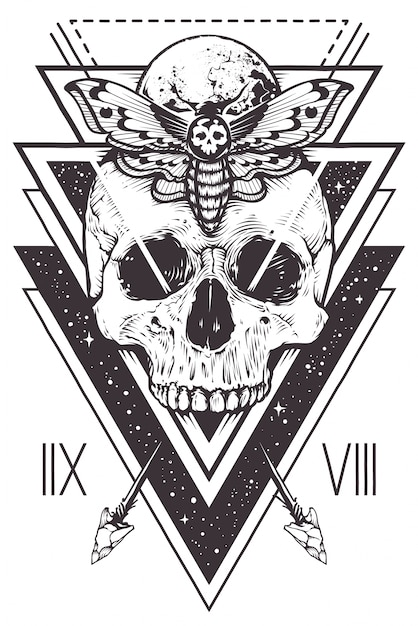 Skull Sacred Geometry Design Free Vector