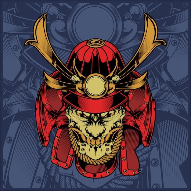 Skull samurai hand drawing vector Premium Vector