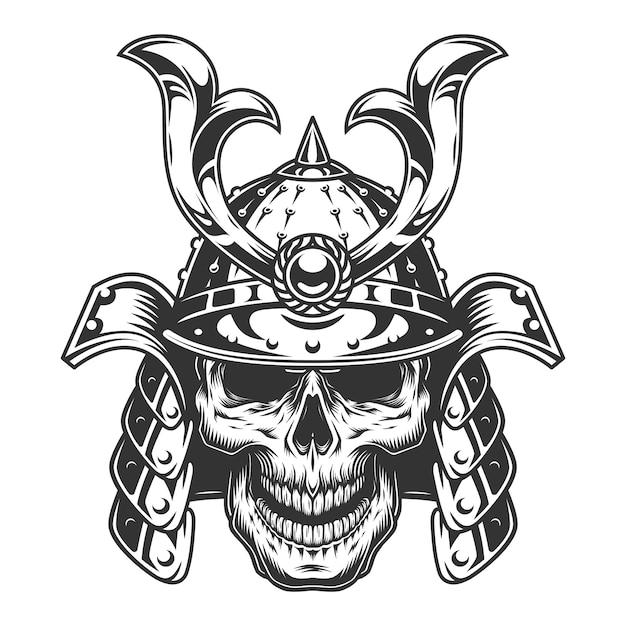 Skull in samurai helmet Free Vector