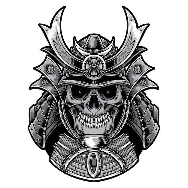 Skull samurai with armor isolated on white Free Vector