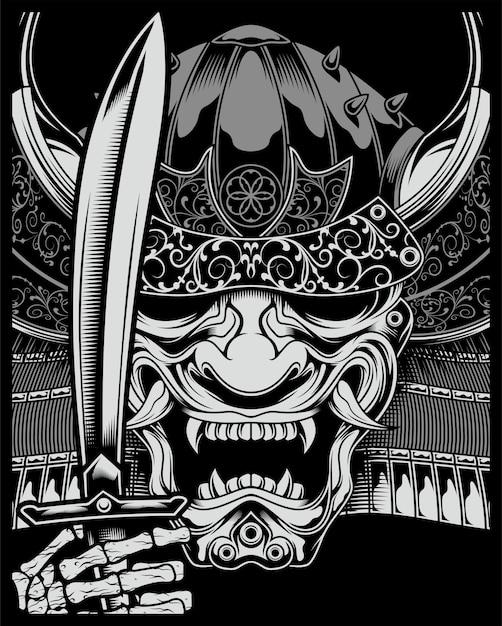 Skull samurai with sword Premium Vector